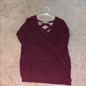 Juniors Criss Cross Back Sweater